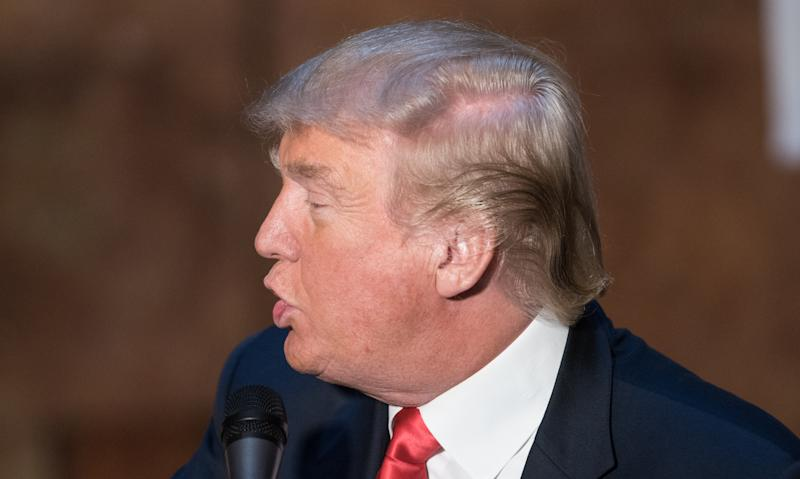 "NEW YORK, NY - NOVEMBER 03: Donald Trump, hair detail, attends a press conference for the release of his new book ""Crippled America"" at Trump Tower on November 3, 2015 in New York City. (Photo by Noam Galai/WireImage)"