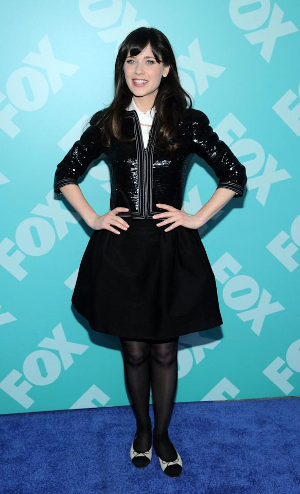 NEW YORK, NY - MAY 13:  Actress Zooey Deschanel attends FOX 2103 Programming Presentation Post-Party at Wollman Rink - Central Park on May 13, 2013 in New York City.  (Photo by Ilya S. Savenok/Getty Images)