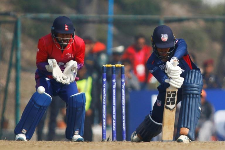 US cricketer Akshay Homraj plays a shot during his team's record-equalling defeat to Nepal in Feburary