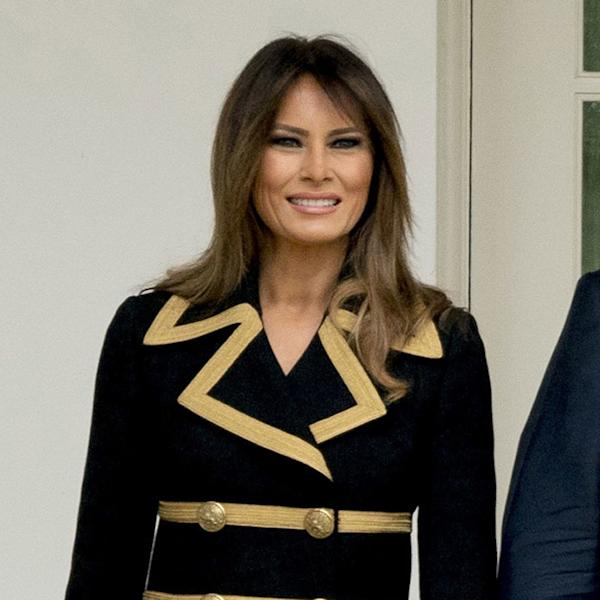 The First Lady Melania Trump returned to her strictly tailored aesthetic for a meeting with the Australian leader and his wife at the White House.