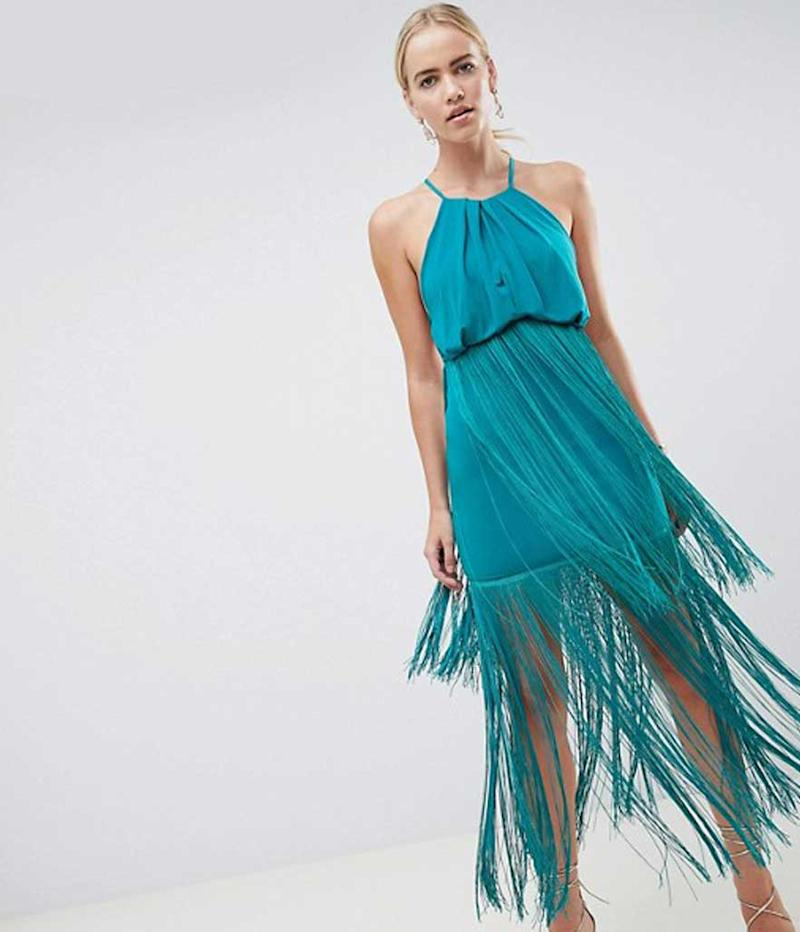 Turquoise fringe halter dress.