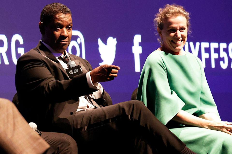 Denzel Washington and Frances McDormand participate in the Q&A at the opening night screening of The Tragedy Of Macbeth during the 59th New York Film Festival at Alice Tully Hall, Lincoln Center on September 24, 2021 in New York City.