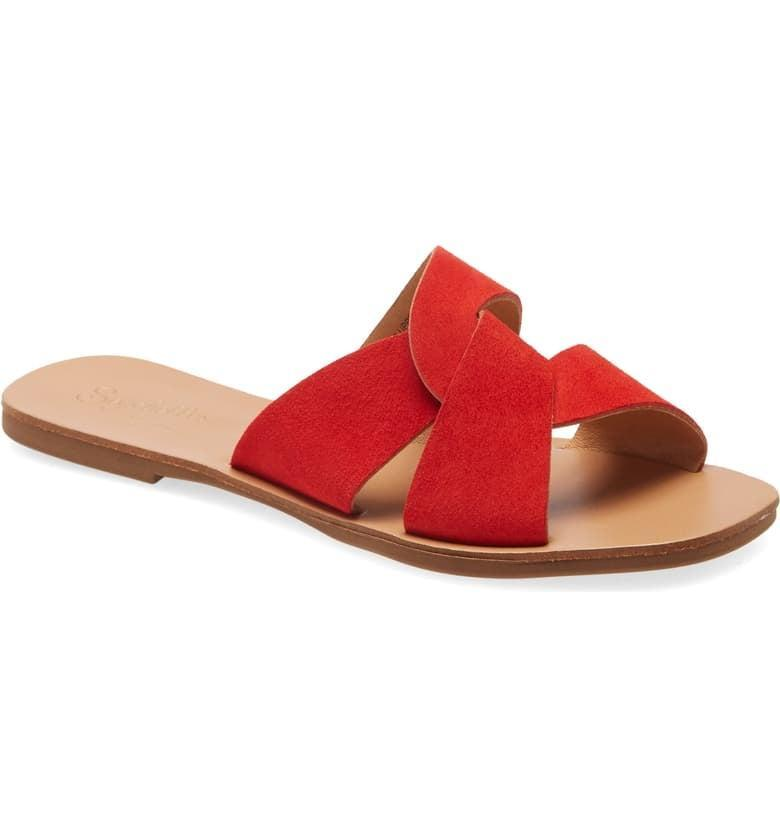 <p>For a pop of red, slip on these <span>Seychelles Ray of Sunshine Slide Sandals</span> ($75).</p>