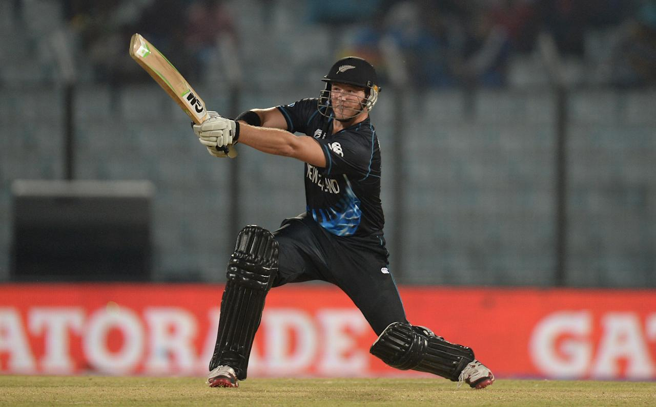 CHITTAGONG, BANGLADESH - MARCH 24:  Corey Anderson of New Zealand bats during the ICC World Twenty20 Bangladesh 2014 Group 1 match between New Zealand and South Africa at Zahur Ahmed Chowdhury Stadium on March 24, 2014 in Chittagong, Bangladesh.  (Photo by Gareth Copley/Getty Images)
