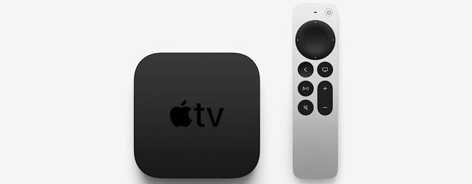 apple 2021 tv and remote on grey background