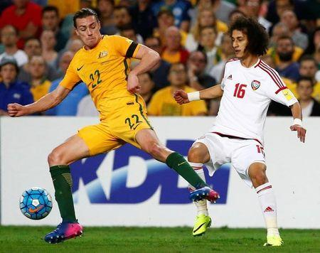 Football Soccer - Australia vs United Arab Emirates - 2018 World Cup Qualifying Asian Zone - Group B - Sydney Football Stadium, Sydney, Australia - 28/3/17 - Australia's Jackson Irvine is challenged by UAE's Mohamed Alraqi.  REUTERS/David Gray