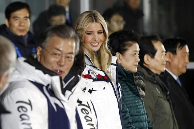 Ivanka Trump stands at the beginning of the closing ceremony of the Winter Olympics in South Korea (Getty Images)