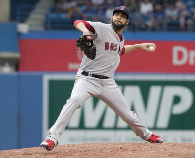 Boston Red Sox starting pitcher David Price throws to a Toronto Blue Jays batter during the first inning of a baseball game Tuesday, July 2, 2019, in Toronto. (Fred Thornhill/The Canadian Press via AP)