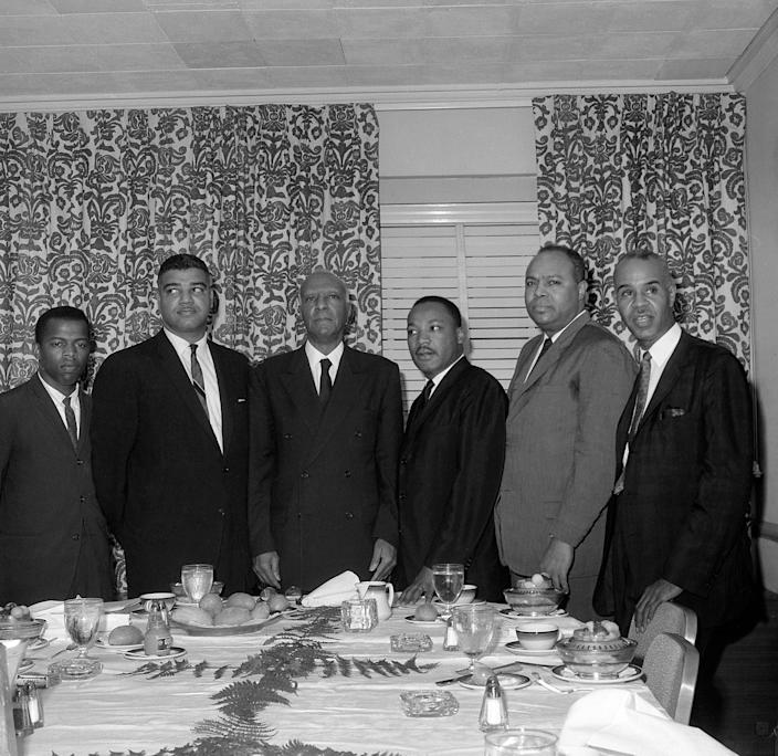 The Big Six — John Lewis, Whitney Young, Philip Randolph, Martin Luther King, James Farmer and Roy Wilkins — meet on March 6, 1963, in New York City to plan the Aug, 28 March on Washington.