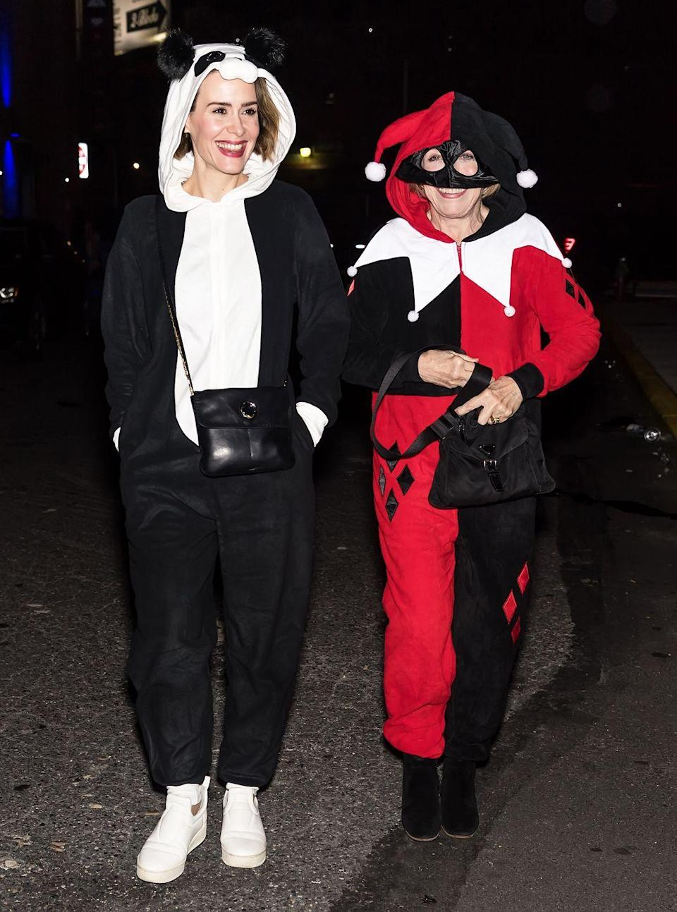 <p>The actresses may not be matching, per se, but both women donned incredibly cozy onesies for a Halloween party in 2017. Note to self: Wear a onesie this year.</p>