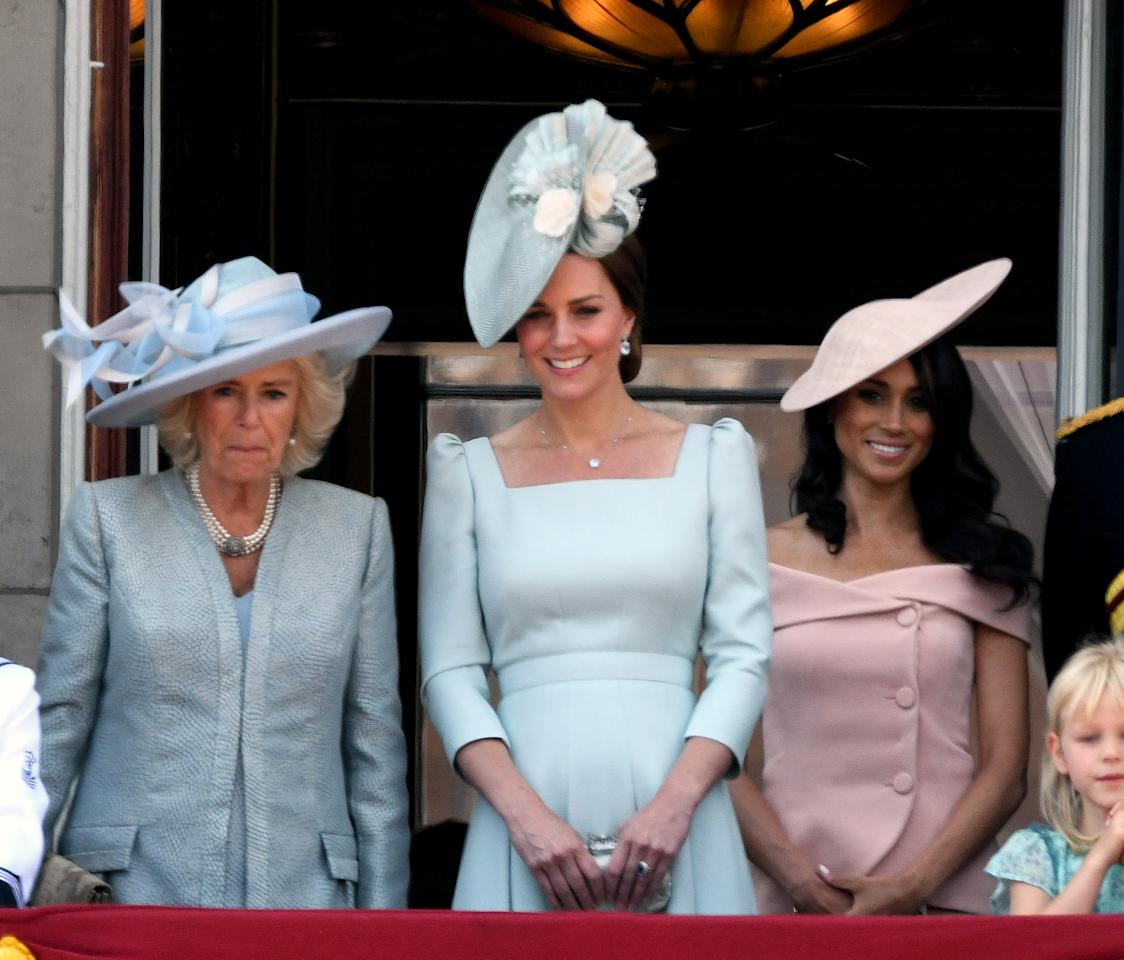 <p>The matching duchesses also stood side by side on the balcony of Buckingham Palace where the family enjoyed an impressive military display in honour of the QUeen's birthday. Photo: Getty </p>