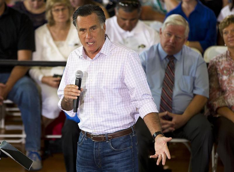 Republican presidential candidate, former Massachusetts Gov. Mitt Romney speaks at Central High School, Tuesday, July 10, 2012, in Grand Junction, Colo.  (AP Photo/Evan Vucci)
