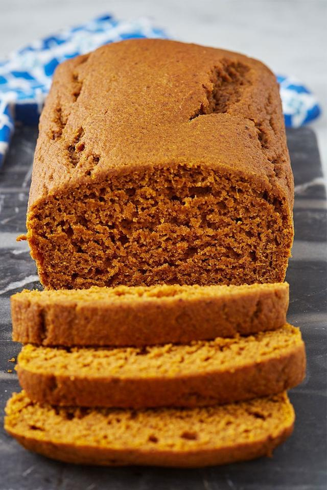 """<p>Healthy doesn't have to be synonymous with boring, and this pumpkin bread is proof! Made with whole wheat flour, maple syrup, and some greek yoghurt for tenderness, this fall-flavoured loaf is as good for breakfast as it is for dessert.  </p><p>Get the <a href=""""https://www.delish.com/uk/cooking/recipes/a30054292/healthy-easy-pumpkin-bread-recipe/"""" target=""""_blank"""">Healthy Pumpkin Bread</a> recipe.</p>"""