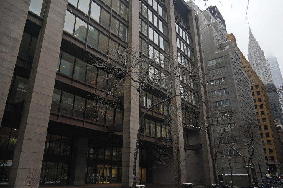 The Ford Foundation Building is seen in New York, Friday, Feb. 19, 2021. The foundation is one of nine grant makers that have issued a total of $3 billion in debt since June to cover increases in their grant making. (AP Photo/Seth Wenig)