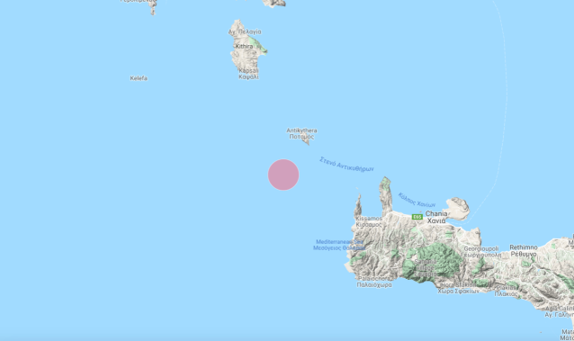 The epicentre of an undersea earthquake that has rattled the Greek island of Crete (Quakeapp)