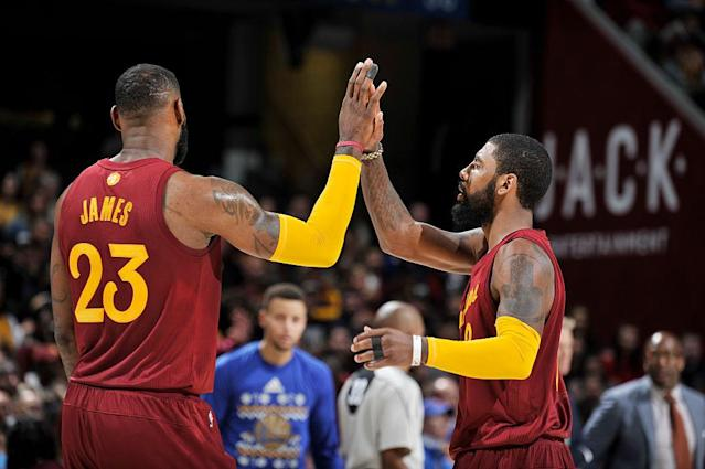 "<a class=""link rapid-noclick-resp"" href=""/nba/players/4840/"" data-ylk=""slk:Kyrie Irving"">Kyrie Irving</a> and LeBron James put on a show for the Cleveland crowd on Christmas. (Getty Images)"