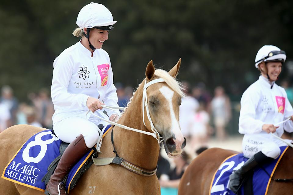 GOLD COAST, AUSTRALIA - JANUARY 07: Zara Tindall, the eldest granddaughter of Queen Elizabeth II, rides a horse on Surfers Paradise beach during the 2020 Magic Millions official draw at Surfers Paradise Foreshore on January 07, 2020 in Gold Coast, Australia. (Photo by Jono Searle/Getty Images)