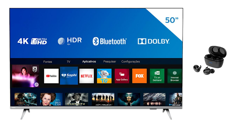 Smart TV LED 50'' Philips 50PUG6654/78 Ultra HD 4K + Fone sem fio Philips Shb2505bk/00