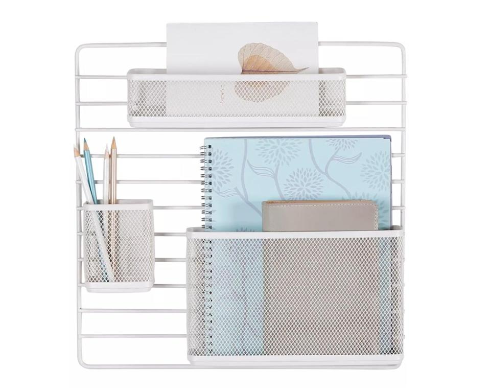 <p>This <span>Made by Design Mesh Wall Office Supply Organize</span> ($17) will save you desk space by storing stuff on your wall.</p>