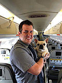 JetBlue flight attendant Renaud Spencer with Darcy the French bulldog.<i></i> (Michele and Steven Burt)