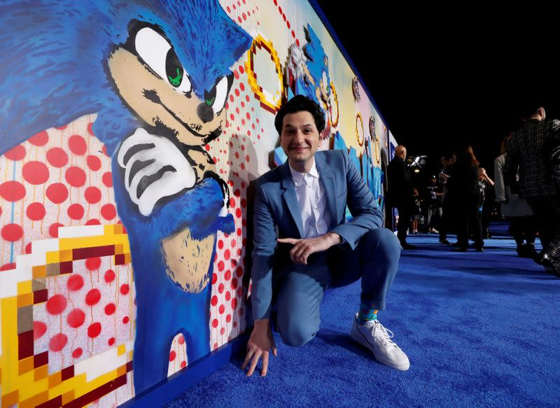 "FILE PHOTO: Cast member Schwartz poses at the premiere of ""Sonic the Hedgehog"" in Los Angeles"