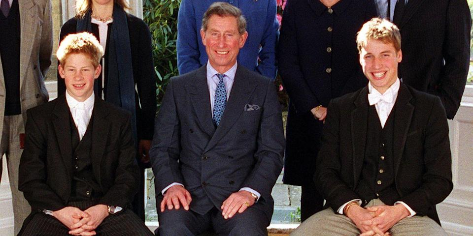 <p>Harry poses with Prince William and Prince Charles at his Confirmation at Eton College.</p>