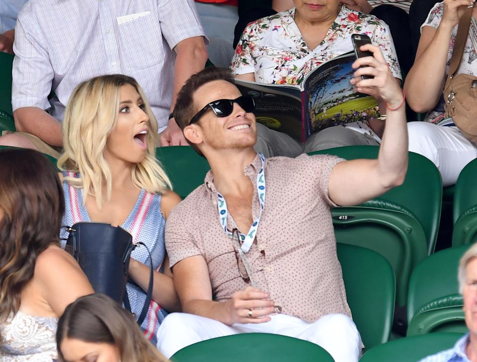 LONDON, ENGLAND - JULY 08:  Stacey Solomon and Joe Swash attend day six of the Wimbledon Tennis Championships at the All England Lawn Tennis and Croquet Club on July 8, 2017 in London, United Kingdom.  (Photo by Karwai Tang/WireImage)