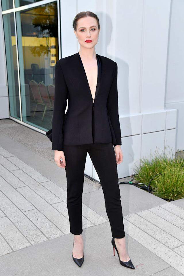 <p>For Westworld's FYC panel at the Saban Media Centre in May 2017, the actress donned one of her greatest looks to date. Evan Rachel Wood opted for a slick black co-ord by Brandon Maxwell and finished the look with a seriously bold lip. <em>[Photo: Getty]</em> </p>