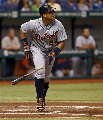 Detroit Tigers' Miguel Cabrera watches his home run during the fourth inning of a baseball game against the Tampa Bay Rays Sunday, June 30, 2013, in St. Petersburg, Fla. (AP Photo/Mike Carlson)