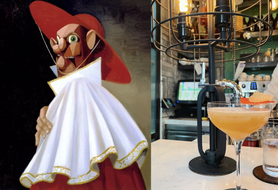 Left: George Condo, The Cracked Cardinal, 2004. The artwork on which the cocktail is based on. Right: Tippling's Club, The Cracked Cardinal ($25)