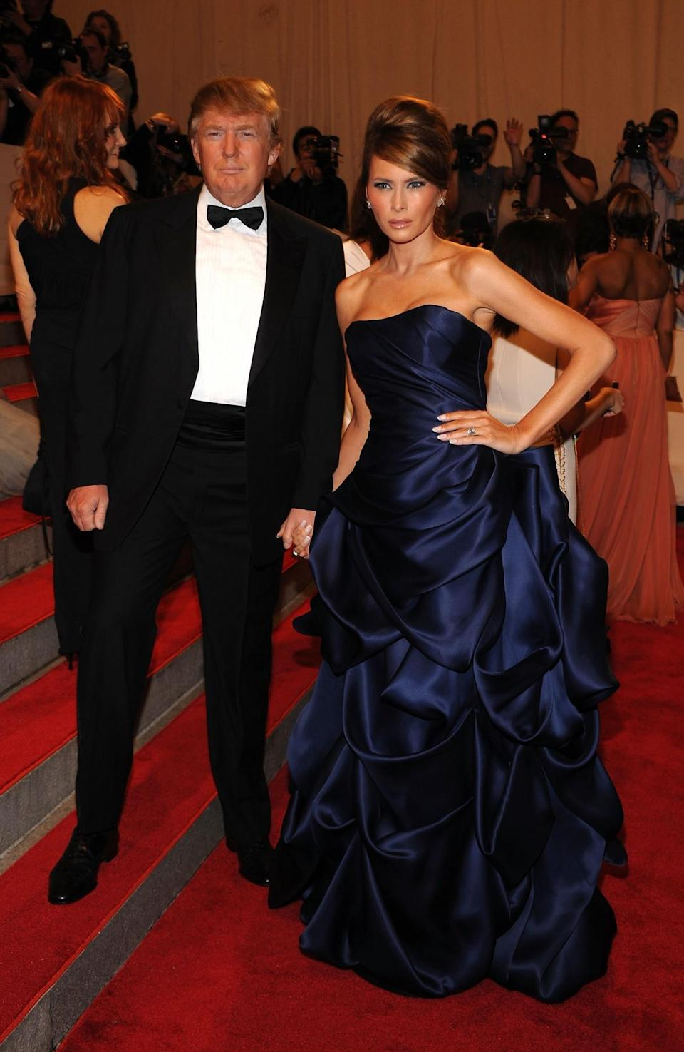 <p>At the 2010 Met Ball, Melania stunned onlookers in a custom Christian Siriano gown designed in a gorgeous navy shade. <i>[Photo: Getty]</i> </p>