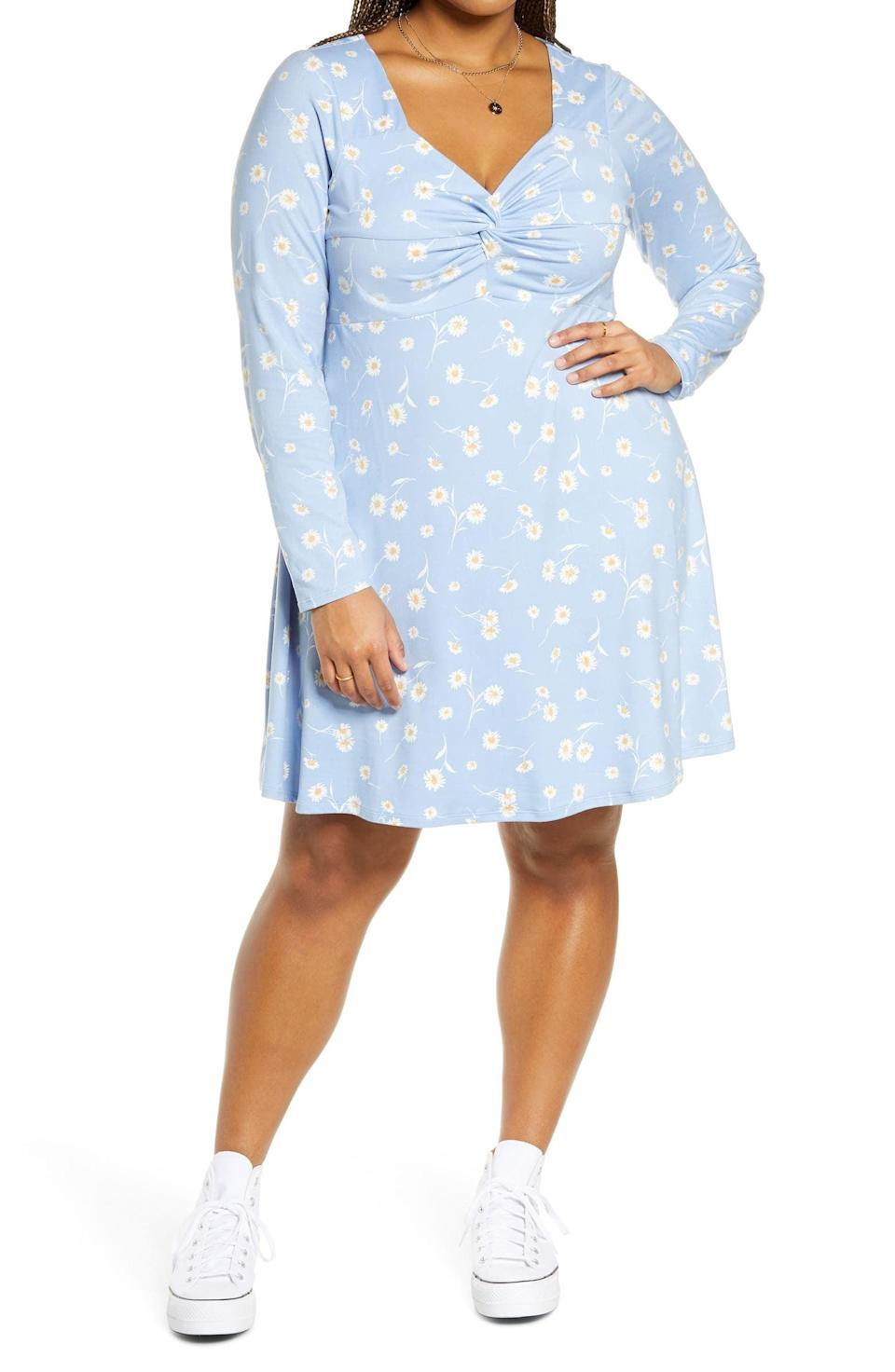 <p>Between the lovely print and elegant silhouette, this <span>BP. Floral Sweetheart Neck Long Sleeve Knit Dress</span> ($49) will get you noticed.</p>