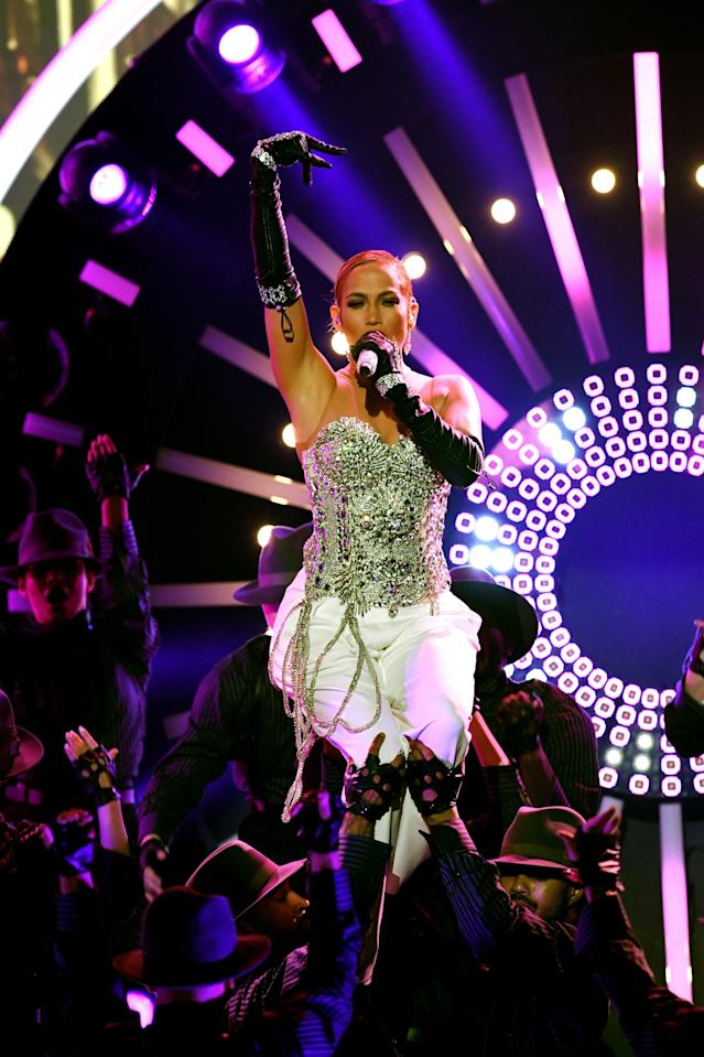"Jennifer Lopez owns her love of money in her new song, ""Dinero."" (Photo: Getty Images)"