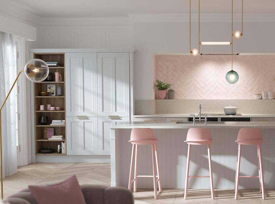 """<p>Pink is a deceptively versatile paring in a white kitchen. A soft blush can lend themselves to country styles, peachy pinks can be rustic when mixed with natural materials, whilst this pale bubblegum pink instantly modernises. Use your pinks in unexpected places, like these pink statement bar stools and wall tiles.<br></p><p>Pictured: <a href=""""https://www.wrenkitchens.com/kitchens/country-ermine-marshmallow-matt/10144"""" rel=""""nofollow noopener"""" target=""""_blank"""" data-ylk=""""slk:Country Ermine Kitchen at Wren"""" class=""""link rapid-noclick-resp"""">Country Ermine Kitchen at Wren</a></p>"""