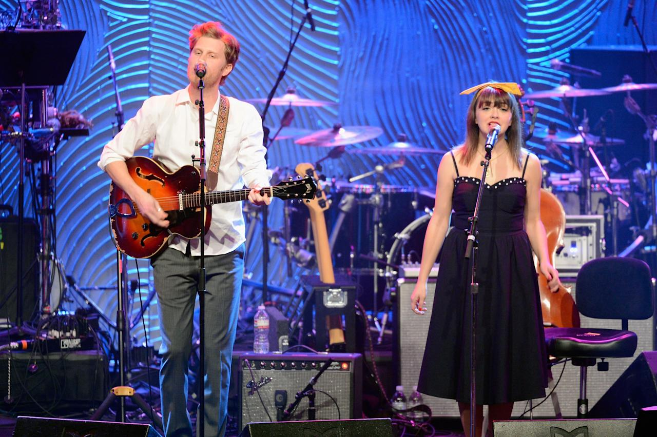"BEVERLY HILLS, CA - FEBRUARY 09:  (L-R) Musicians Wesley Schultz and Neyla Pekarek of The Lumineers onstage at Clive Davis & The Recording Academy's 2013 Pre-GRAMMY Gala and Salute to Industry Icons honoring Antonio ""L.A."" Reid at The Beverly Hilton Hotel on February 9, 2013 in Beverly Hills, California.  (Photo by Kevork Djansezian/Getty Images)"