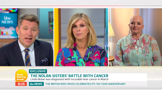 Linda Nolan spoke to 'GMB' about sharing cancer treatment with her sister Anne. (ITV)