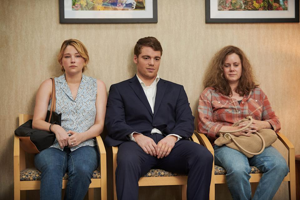"""J.D. (Gabriel Basso, center) returns home to help his sister (Haley Bennett) and mom (Amy Adams) in """"Hillbilly Elegy."""""""