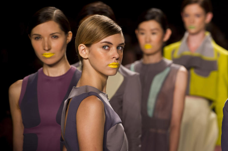 Contestant Elena Slivnyak's designs are modeled at the Project Runway finale fashion show during Fashion Week on Friday, Sept. 7, 2012 in New York. (Photo by Charles Sykes/Invision/AP Images)