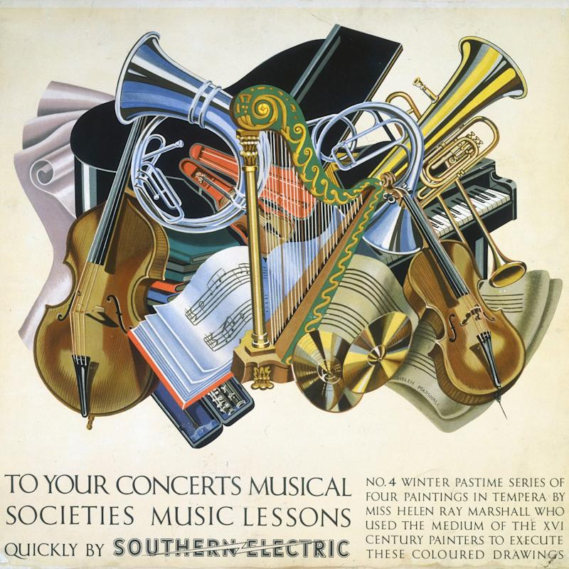 A 1930s poster promoting musical societies in Britain by Helen Ray Marshall - Getty