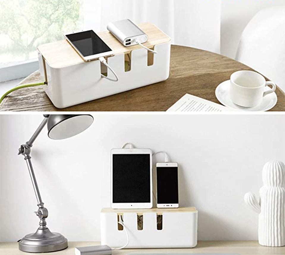 "<h2>Baskiss Cable Management Box</h2><br>Say goodbye to the stress-inducing ball of phone chargers, computer chargers, and lamp cords with the help of this pretty little box. It can accommodate most power strips under 12 inches and will free you from the shackles of constant detangling.<br><br><em>Shop</em> <strong><em><a href=""https://amzn.to/39MWPGE"" rel=""nofollow noopener"" target=""_blank"" data-ylk=""slk:Baskiss"" class=""link rapid-noclick-resp"">Baskiss</a></em></strong><br><br><strong>Baskiss</strong> Cable Management Box, $, available at <a href=""https://amzn.to/3uyDWz0"" rel=""nofollow noopener"" target=""_blank"" data-ylk=""slk:Amazon"" class=""link rapid-noclick-resp"">Amazon</a>"