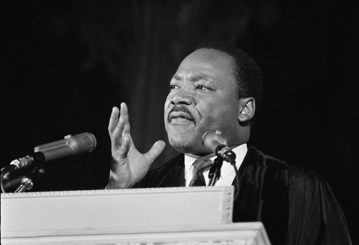 <p>Dr. Martin Luther King, Jr., left, who heads the Southern Christian Leadership Conference, addresses a capacity crowd from the pulpit at the National Cathedral in Washington, D.C., March 31,1968. (AP Photo/John Rous) </p>