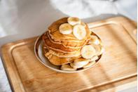 """<p>If you're trying to stay healthy but craving pancakes, this will be your go-to: <a href=""""https://www.theseasonedmom.com/healthy-banana-pancakes/"""" rel=""""nofollow noopener"""" target=""""_blank"""" data-ylk=""""slk:three-ingredient banana pancakes"""" class=""""link rapid-noclick-resp"""">three-ingredient banana pancakes</a> made only with bananas, eggs, and cinnamon. They're super simple to put together and very satisfying. </p>"""