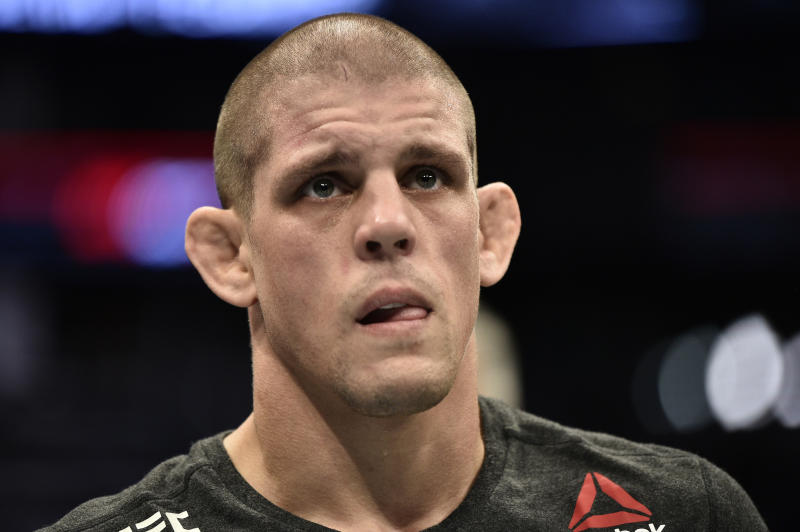 Joe Lauzon reacts after his TKO victory over Jonathan Pearce in their lightweight bout during the UFC Fight Night event at TD Garden on October 18, 2019 in Boston, Massachusetts. (Photo by Chris Unger/Zuffa LLC via Getty Images)