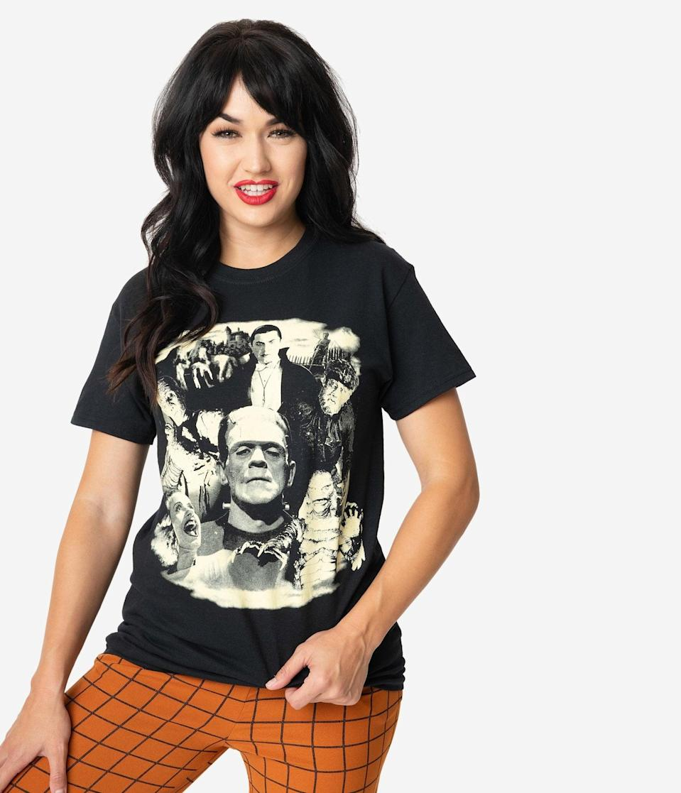 "<p>We predict the <span>Glow In The Dark Universal Studios Monsters Collage Unisex Tee</span> ($36) to be a hot <a class=""link rapid-noclick-resp"" href=""https://www.popsugar.com/Halloween"" rel=""nofollow noopener"" target=""_blank"" data-ylk=""slk:Halloween"">Halloween</a> pick.</p>"