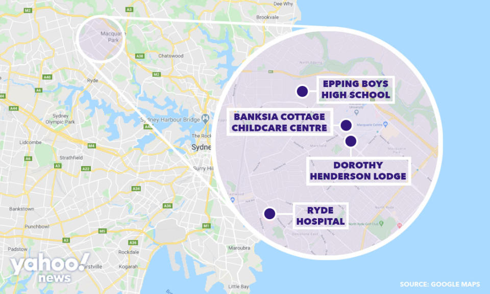 A map showing the Ryde-Epping area of Sydney which has become the epicentre of the coronavirus cases in Sydney. Source: Yahoo News Australia