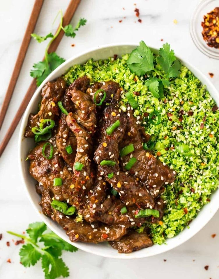 "<p>Beef sirloin, broccoli, sesame, green onions, and fresh cilantro fuse together for a dinner that's sure to become a family favorite.</p> <p><strong>Get the recipe:</strong> <a href=""http://www.wellplated.com/healthy-beef-and-broccoli/"" target=""_blank"" class=""ga-track"" data-ga-category=""Related"" data-ga-label=""http://www.wellplated.com/healthy-beef-and-broccoli/"" data-ga-action=""In-Line Links"">beef and broccoli</a></p>"