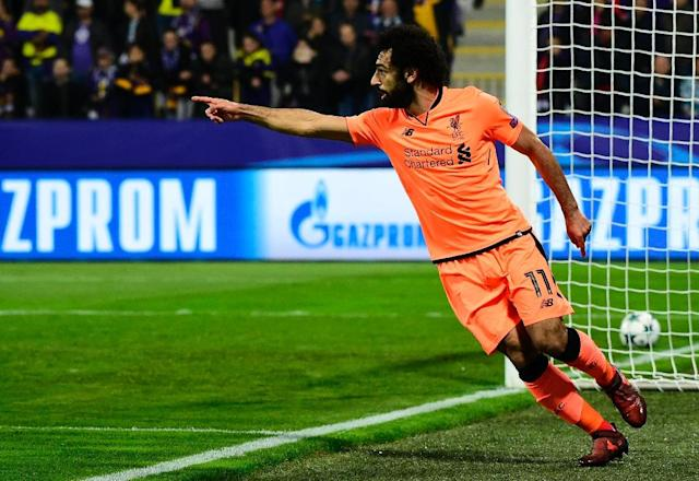 Liverpool's Mohamed Salah celebrates after scoring a goal during their UEFA Champions League Group E first leg match, at the Ljudski vrt Stadium in Maribor, Slovenia, on October 17, 2017 (AFP Photo/Jure Makovec)