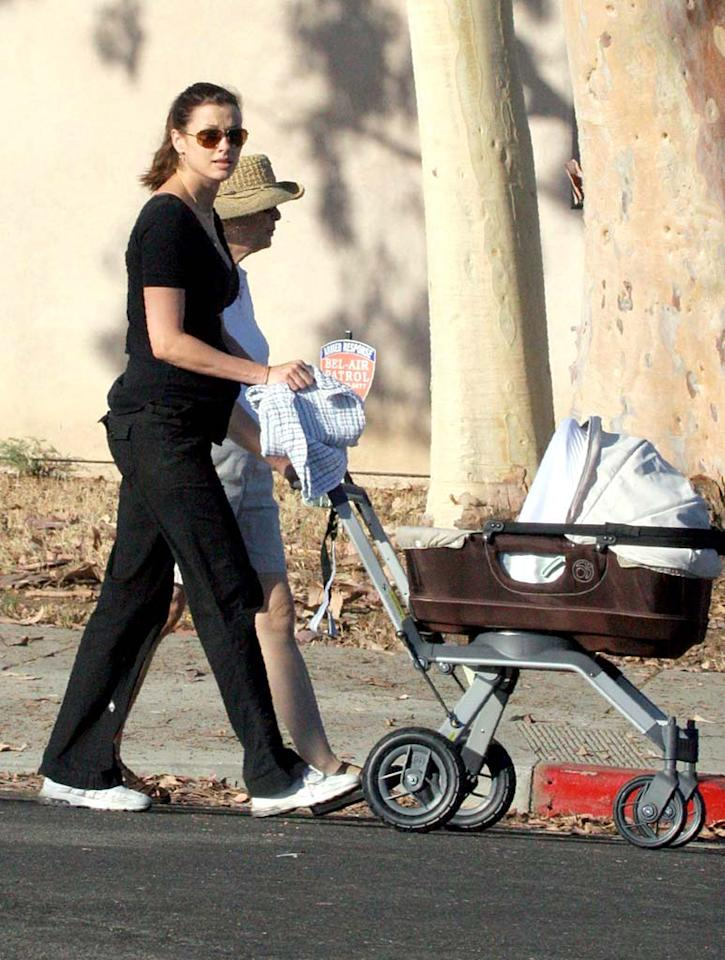 "The new mom doesn't look too happy. Perhaps she didn't appreciate the ""supermodel"" onesie that Tom Brady's girlfriend Gisele Bundchen reportedly sent as a gift. Ginsburg-Spaly/<a href=""http://www.x17online.com"" target=""new"">X17 Online</a> - September 4, 2007"