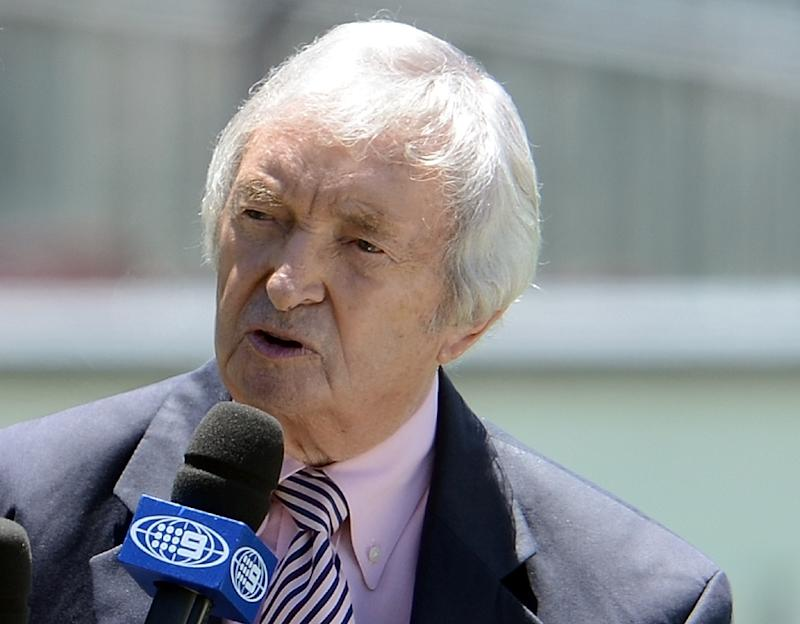 Legendary Australian cricketer and commentator Richie Benaud hosts a talk-show during the a Test match between Australia and Sri Lanka at the Sydney Cricket Ground on January 6, 2013