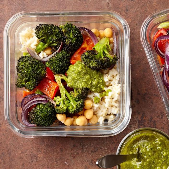 <p>Your co-workers will be jealous when you pull out this healthy lunch of roasted veggies and brown rice. Put together 4 lunches when you have time and you will have packable lunches (or ready-to-eat dinners) for several days--just grab a container on your way out the door in the morning.</p>